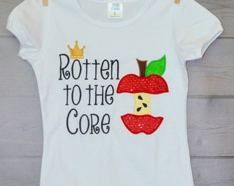 Personalized Apple Rotten to the Core Applique Shirt or Onesie Girl