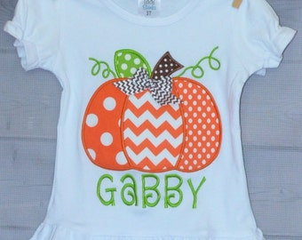 Personalized Pumpkin Applique Shirt or Onesie for Boy or Girl