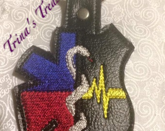 EMS 911 Dispatcher  - POLICE - FIRE Department - Law Enforcement - In The Hoop - Snap/Rivet Key Fob - Digital Embroidery Design