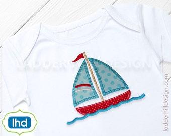 Sailboat in the Water Applique Embroidery Design - Sailboat Applique Embroidery - Nautical Applique Embroidery - Summer Applique WA025