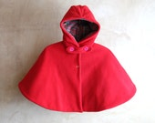 Baby girl Hooded Cape, toddler girl polar fleece cape, little red  riding hood lined. MADE TO ORDER