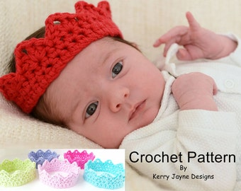 CROCHET CROWN PATTERN - Princess Charlotte Crown - Baby Crochet Crown Pattern Newborn Crown Pattern Photo Prop Crown Prince / Princess Crown