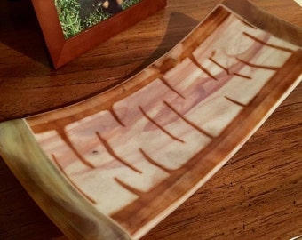 Birch style fused glass plate