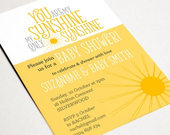 Printable Baby Shower Invitation - You are my Sunshine - Invitation template - Custom Invitation - Printable Invitation - Baby Shower Invite