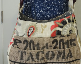 recycled burlap coffee bean bag purse with 7 pockets