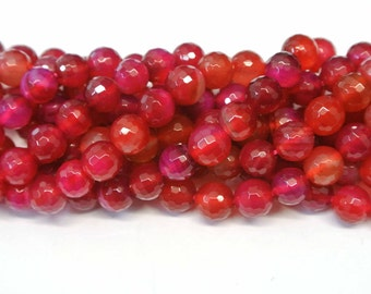 Agate Beads, Round Agate Beads, 1 strand 8mm pink agate beads, Pink & orange Agate Beads, Faceted Agate Beads, Wholesale Beads