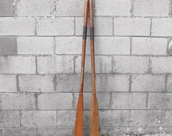 Antique Rowing Boat Oars - Leather