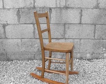 Childrens Oak Rocking Chair Traditional Rustic Farmhouse Seat