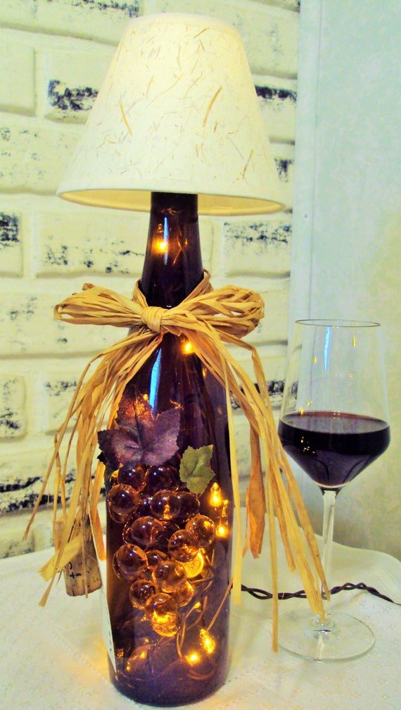 Warm brown lighted wine bottle lamp with shade by for Wine cork lampshade