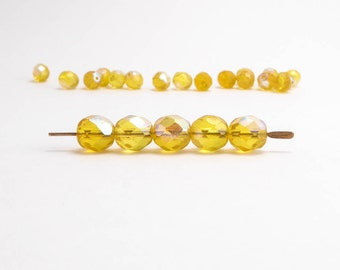 Yellow AB Round Faceted Czech Glass Beads, (30 pcs) 8mm Round Beads, Yellow Beads, AB Round Beads, Pearlescent Beads RND0303