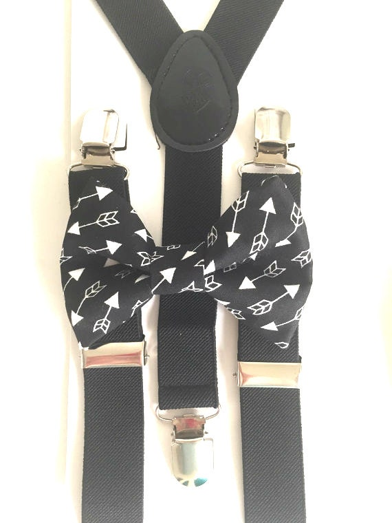 Black Suspenders and Arrows Bow Tie