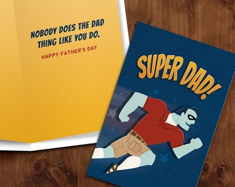 Super Dad!     Super Hero themed Printable Father's Day Card with Matching Envelope