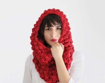 Chunky Knit Cowl Scarf - Infinity Scarf - Body Wrap with Bubbles in Bright Red - Women's Fall Accessories | The Ophelia Cowl |
