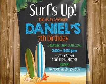 Any Age Surf Printable Boys 1st 2nd 3rd 4th 5th 6th 7th Birthday Invitation Surf's Up Chalkboard Surfing Birthday Invitation