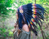 The Original - Real Feather Rasta and Black Chief Indian Headdress Replica 75cm, Native American Style Costume Hand Made War Bonnet Hat