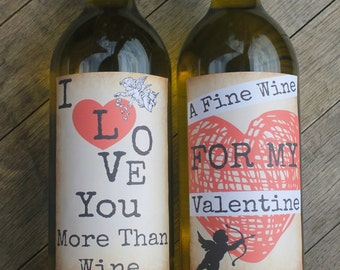 Grungy Valentines Day Wine Bottle Labels - Smart Party Planning