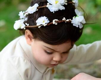 THE SKYLAR BABY - Double White Children's Flower Wreath Crown Hair Accessories Flower Girl Boho Wedding Floral Wreath Baby Hair Toddler Bow