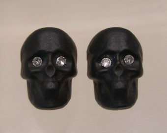 Murano Glass Skull Stud Earrings