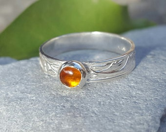 Sterling Silver 925 Patterned Ring with Amber Cabochon - Choice of Antique Patina or Shiny Silver Finish - Made-to Order