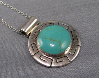 Pendant Vintage Large Greek Key Turquoise Mexican Sterling Silver Enchantment Turquoise Signed CII With Chain