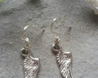 Angel wing earrings - Feather earrings - Wing earrings - Silver Plated feather earrings