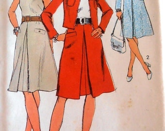 70s Vintage Dress and Jacket Pattern, SImplicity 9768 Sewing pattern, Size 18 bust 40, 70s clothing, Fashion Dress, Epsteam