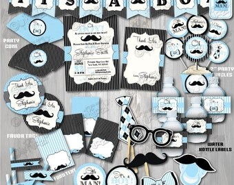 On Sale! Printable Little Man Baby Shower Package, Mustache Baby Shower, Mustache Party Decoration, Little Man Baby Shower Decorations