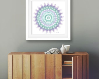 Boho wedding gift geometric art print mandala art bohemian decor emerald green wedding decor turquoise purple decor yoga decor dorm poster