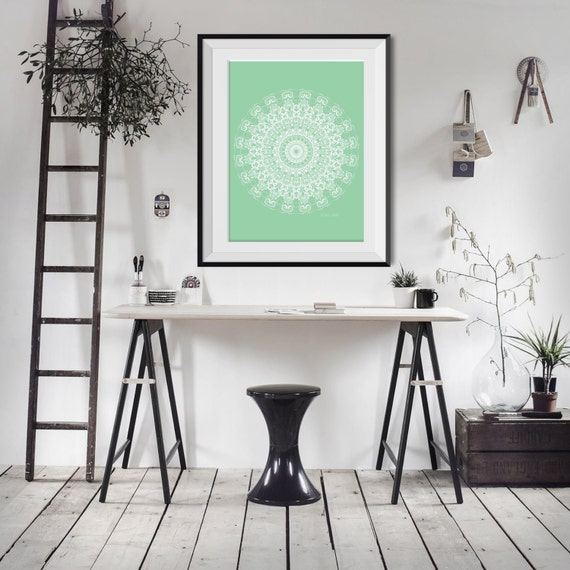 Bathroom Art Minted: Mint Green Bathroom Decor Home Office Wall Art By