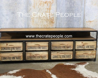 FREE SHIPPING - The New Old Stock with Shelf, 8 Crate TV Console -- Custom Made Crate Furniture