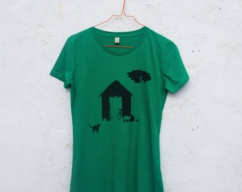 SALE! Shed hand screen printed organic t-shirt for women in kelly green