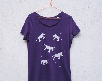 Unicorns scoop neck organic t-shirt for women in plum purple