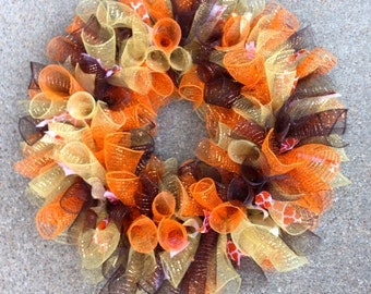 Fall Deco Mesh Wreath 22 inch, Autumn Wreath, Thanksgiving Decoration, Curly Deco Mesh Wreath, Thanksgiving Wreath, Fall Wreath, Autumn