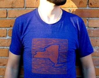 Bike NY - Linocut Design on Tri-blend American Apparel T-shirt