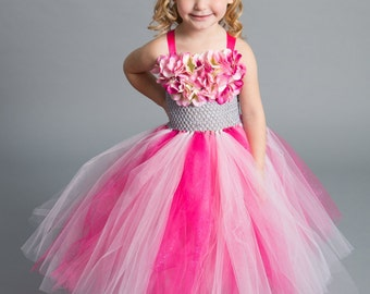 Flower girl dress - tutu dress - tulle dress -Pink Tutu Dress - infant/Toddler Dress - Pageant dress - Princess dress - Dance- Pink Dress