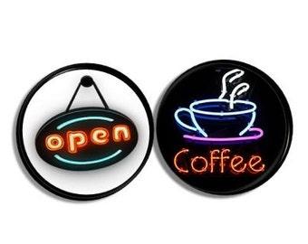 Coffee Shop Neon Sign Decorative Kitchen Cabinet Knobs Open Cup Cafe Unique