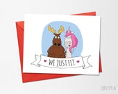 Funny Wedding Card, Funny Love Card, Anniversary Card, We Just Fit, Printable Card, Unicorn, Moose, Boyfriend Card, Husband Card