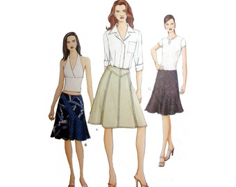 Women's Skirt Sewing Pattern, Shaped Yoke, Flared, Mid-Knee Length Misses Size 8, 10, 12 Uncut Vogue 7416