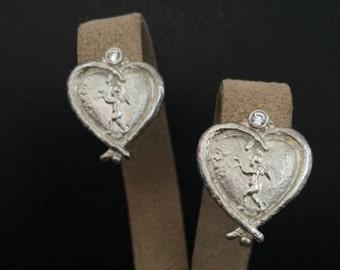 Sterling Silver Cupid Heart Earrings