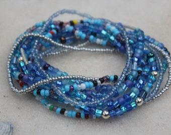 Blue Stretch Stack Bracelets