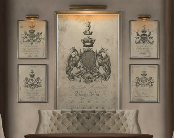 Coat of Arms Print #7 : Family Crest -  18th C. English Armorial Engravings print poster - Heraldy print