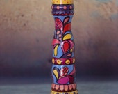 13 inch OOAK Peugeot Pepper mill, NEW Abstract design Hand Painted