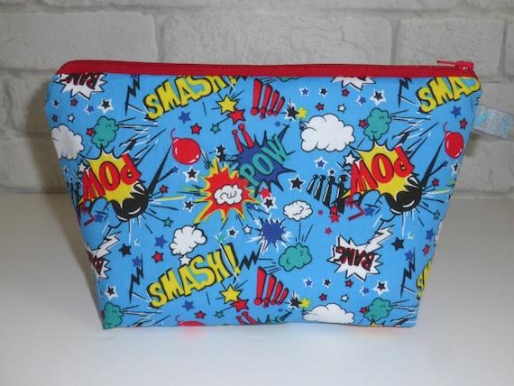 Black Cotton Laundry Bag: Children's Wash Bag / Wet Bag With Superhero Comic Book