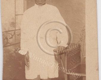Vintage RPPC African American photo Standing girl