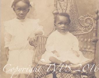 Vintage photograph-RPPC- Black Americana - Big Sister Little Brother