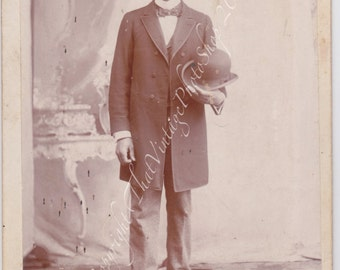 Dapper Young Man with a Bowler Hat - Vintage Cabinet Photo - Black Americana- African American Man