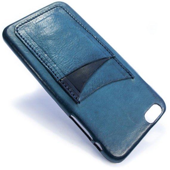 "iPhone 6S PLUS display 5.5"" Italian Leather Case with 3 credit cards holder vertical SLOTs choose the color of BODY and ACCENT"