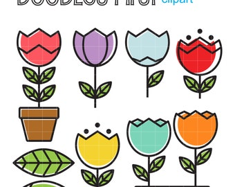 Tulip Doodles Clip Art for Scrapbooking Card Making Cupcake Toppers Paper Crafts