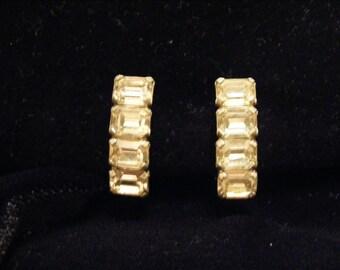 Vintage Rhinestone Silver tone clip on earrings