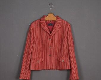 Vintage 90s red stripped blazer Daniel Hechter Made in France